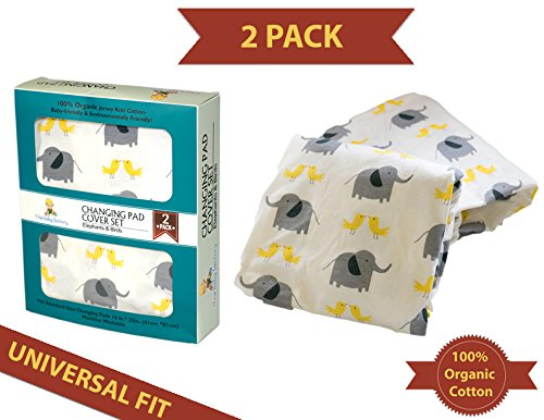 Jenny Lind Baby Cradle (Ultra Plush Infant Changing Pad Cover Set, Cradle Bassinet Sheets - 2 Pack, 100% Organic Cotton Unisex Boy Girl Design - Animals, White Gray)