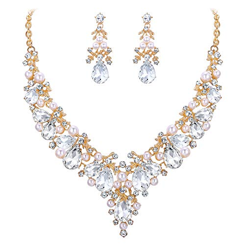 EVER FAITH Crystal Simulated Pearl Gorgeous Bridal Leaf Waterdrop Necklace Earrings Set Clear Gold-Tone