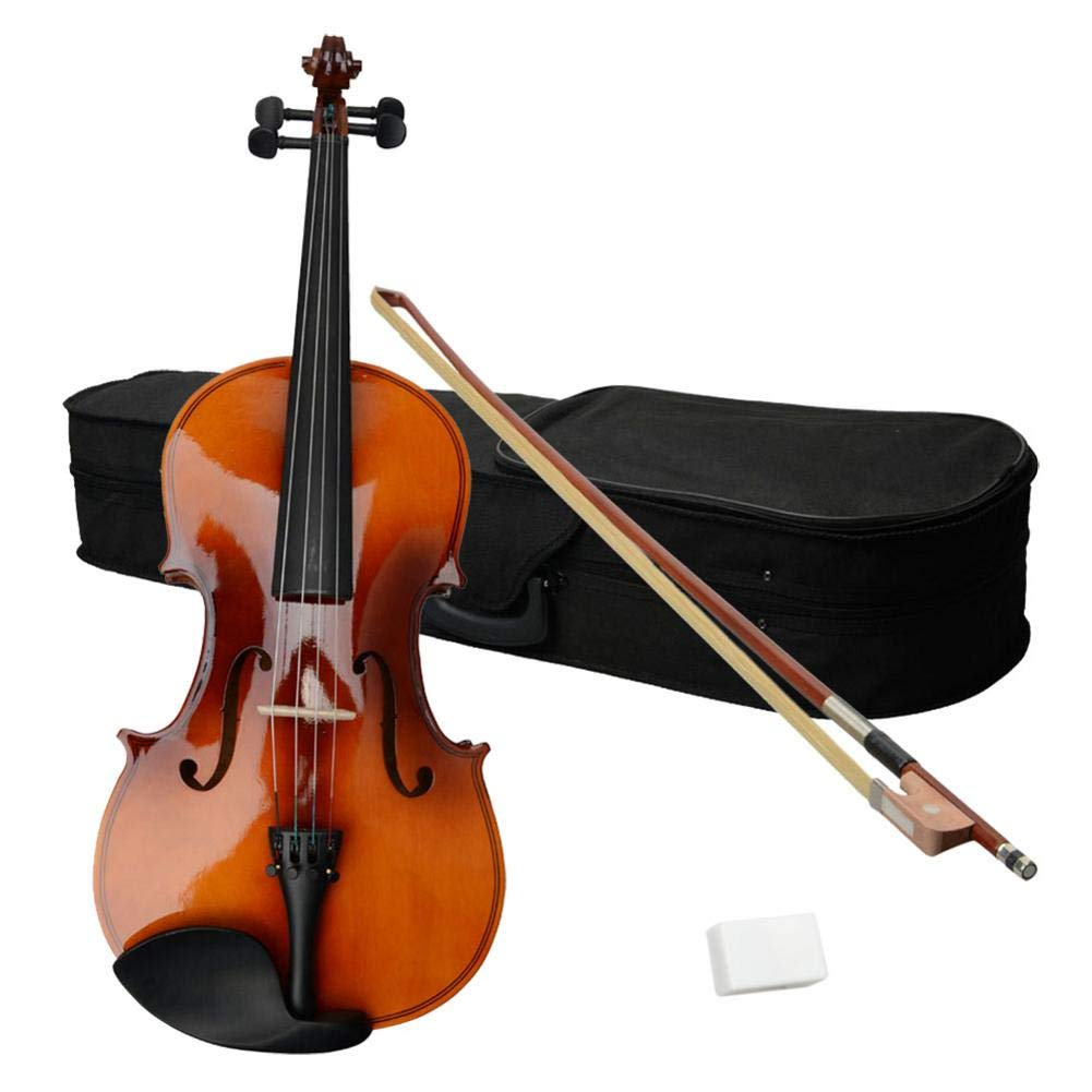Foerteng-us 15inch Brown Basswood Acoustic Viola + Case + Bow + Rosin for Adults,Beginner Student