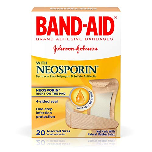 Band-Aid Brand Adhesive Bandages with Neosporin Antibiotic Ointment, Pack of Assorted Sizes, for Wound Care and First Aid, 20 - Band Aid Bandages Antibiotic