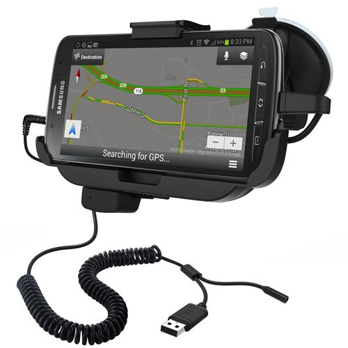 black RND Vehicle Charging Dock for Samsung Galaxy S4 ACTIVE compatible without or with a slim-fit case