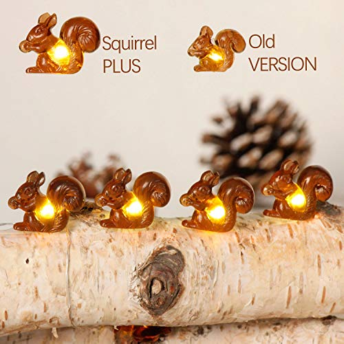 Squirrel Plus String Lights, 10ft Silver wire 30 Big Icon Leds Battery Powered with Remote Control for Indoor Outdoor Fall Party, Thanksgiving Holiday, Christmas Home Fairy Decorations Lighting