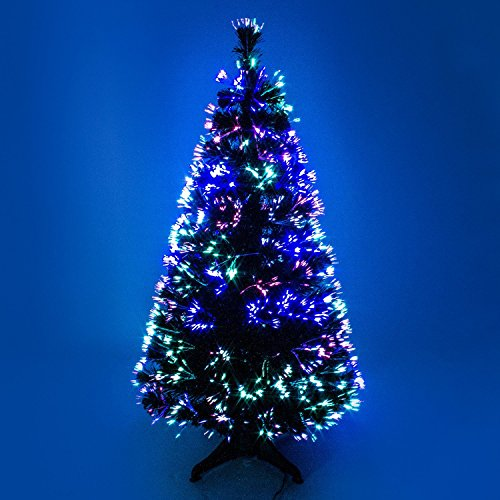 HOMION 3ft Green Fibre Optic Artificial Christmas Tree Indoor with Multicolor LED's (3ft (90cm))