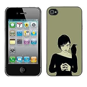 PC/Aluminum Funda Carcasa protectora para Apple Iphone 4 / 4S Crown Woman Black Witch Art Drawing Magic / JUSTGO PHONE PROTECTOR