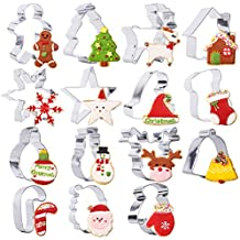 BAKHUK Christmas Cookie Cutter - 15 Stainless Steel Holidays Cookies Molds for Making Muffins, Biscuits, Sandwiches, etc.