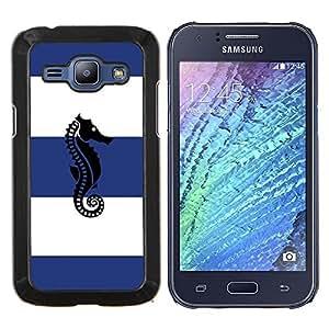 Marinero Rayas Azul Blanco- Metal de aluminio y de plástico duro Caja del teléfono - Negro - Samsung Galaxy J1 / J100