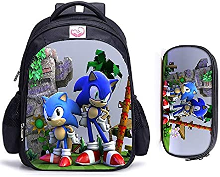 Sonic Mochila 2 Unids/Set Sonic Hedgehog Children Mochila Encantadora Bolsa De Escuela Niños Y Niñas Mochila Ortopédica Establece Bolsa De Lápiz