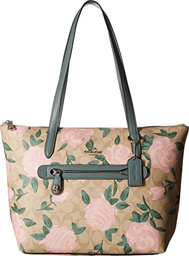 (COACH Women's Camo Rose Taylor Tote Silver/Light Khaki/Blush One Size )
