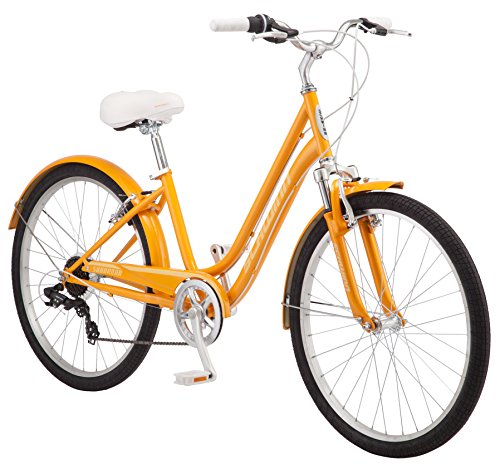 Schwinn Suburban Comfort Hybrid Bike, Featuring Low Step-Through Steel Frame and 7-Speed Drivetrain with 26-Inch Wheels, Small/16-Inch Frame, Orange, 16-Inch/Small Frame (S5483C)