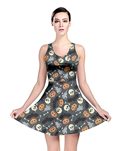 CowCow Womens Colorful Halloween Pattern with Pumkins Bats and Skulls Skater Dress, Colorful 3-3XL -