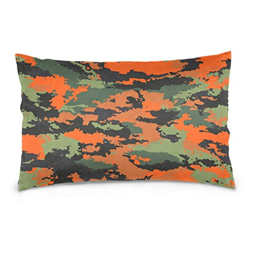 (Top Carpenter Orange Camouflage Velvet Oblong Lumbar Plush Throw Pillow Cover/Shams Cushion Case - 20x36in - Decorative Invisible Zipper Design for Couch Sofa Pillowcase Only)