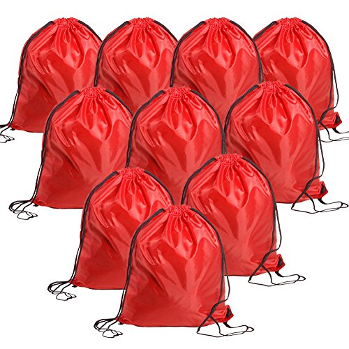 Bonaweite Drawstring Bag Canvas Nylon Sport Storage Portable Training (Red 10 pack)