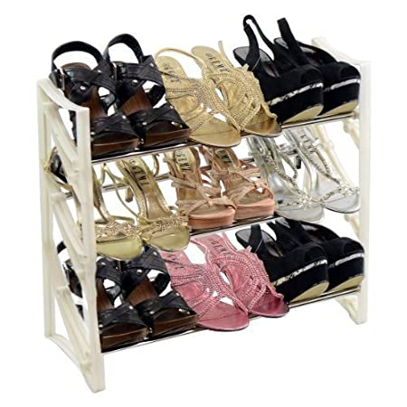 New 3 Tier 9 Pair High Heel Shoe Rack Storage Organiser Shelf Unit