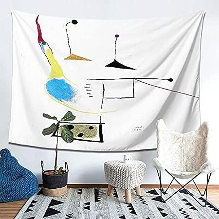 PATINISA Tapiz de Regalo,Pintura de Joan Miro sobre Fondo Blanco,1927 Obra,Tapiz Bohemio diseño para Colgar en la Pared,Sala de Estar Dormitorio 60x51in