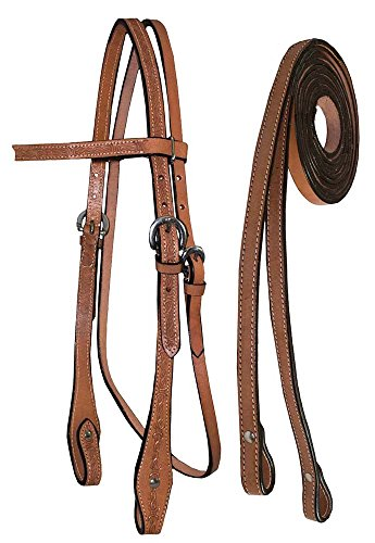 (Tahoe Tack Barbwire Leather Western Hand Tooled Browband Headstall with Matching Split Reins)