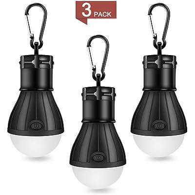 Linkax Lámpara Camping LED,Linterna para Camping,[3 Unidades] Portátil Bombilla Tienda de Camping,Luz Camping para Emergencias, Senderismo,Pesca y Otros Actividades al Aire Libre