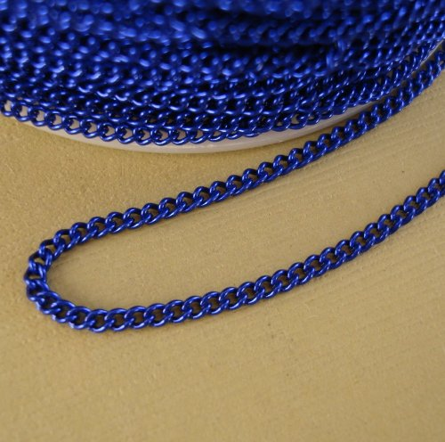 - BeadsTreasure Royal Blue Colored Chain Twist Curbe -10 Ft.