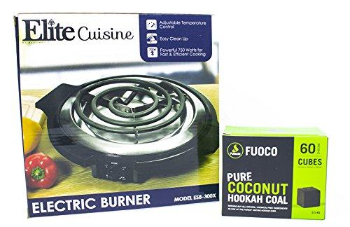 Fumari Fuoco Coconut Hookah Charcoal (60 Pieces - Cube) + Elite Cuisine ESB-300X Maxi-Matic 750 Watt Single Burner Electric Hot Plate, Black by PrimeDeals