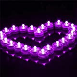 DoDoLightness 24pcs Round Shape Romantic Waterproof Submersible LED Tea Light Electronic Candle Light for Wedding Party Valentine Decoration (Purple)