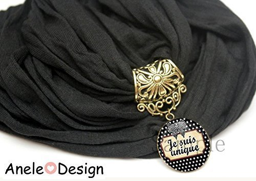 Écharpe foulard bijou noir Je suis uniqueღ