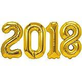 "Graduation Party Supplies 2018 Mylar Number Balloons - 40"" Gold Grad/Birthday/Anniversary Decorations"