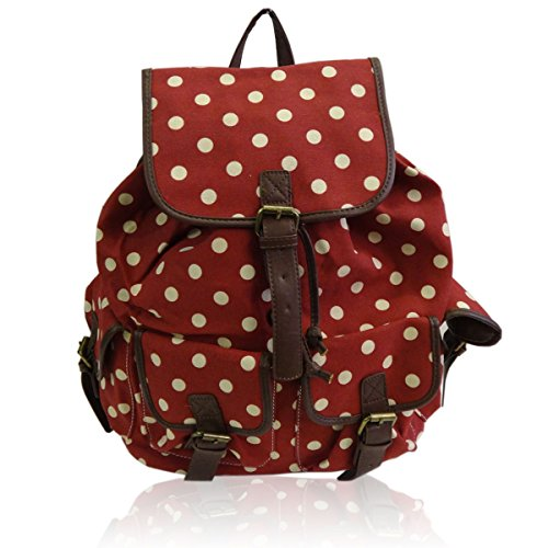 Avashion Ltd - Bolso mochila para mujer - Lunares - rojo