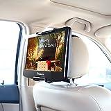 NAVISKAUTO Universal Car Headrest Mount Holder with Angle- Adjustable Holding Clamp for Swivel Screen Portable DVD Player, Black