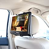 NAVISKAUTO Universal Car Headrest Mount Holder with Angle- Adjustable Holding Clamp for Swivel Screen Portable DVD Player, Black