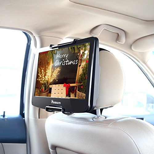 NAVISKAUTO Universal Car Headrest Mount Holder with Angle- Adjustable Holding Clamp for Swivel Screen Portable DVD Player, Black by NaviSkauto