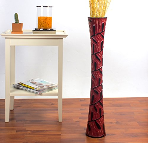 Leewadee Tall Floor Vase 30 inches, Wood, Red For Sale