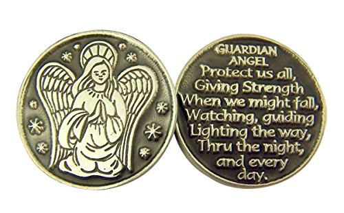 Religious Gifts Silver and Black Tone Guardian Angel Devotional Prayer Token, 1 1/8 Inch