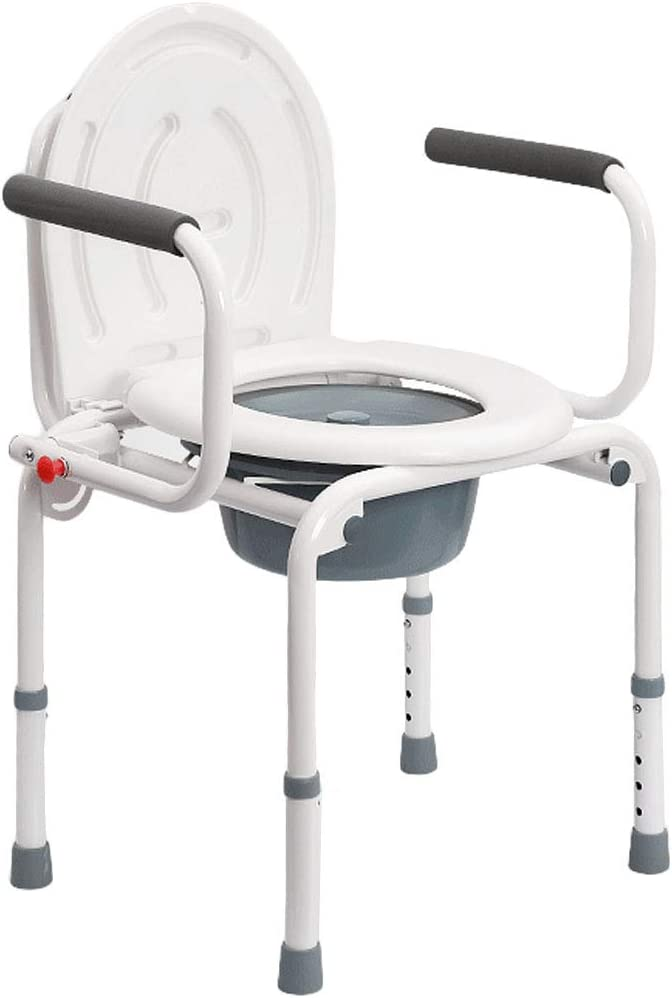 ZBYXZIGJ Bedside Commode Chair Homecare Toilet Bath Show Seat with Safety Steel Frame Adjustable Height