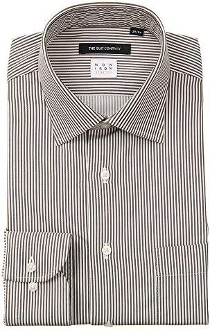 (ザ・スーツカンパニー) NON IRON STRETCH/ワイドカラードレスシャツ ストライプ 〔EC・BASIC〕 ブラウン×ホワイト