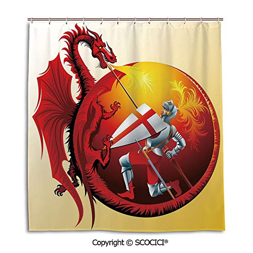 Creative Bath Curtain personality Suit Shade Curtain,66X72in,Dragon,Saint George with Fire Spitting Winged Creature Royal Knight Graphic Decorative,Silver Ruby Earth Yellow,Used for bathing privacy ()