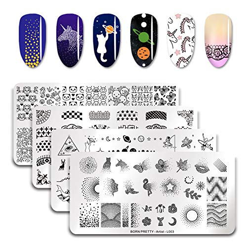 Born Pretty 4Pcs Nail Art Stamping Template Set French Design Lace Maple Leaf Cute Animal Solar System Star Moon Outer Space manicuring Print Image Plate ()