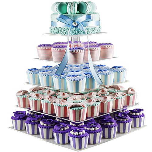 5 Tiers Large Acrylic Wedding Cupcake Stands Tower Tree, Clear Tiered Cake Stand Tall Jumbo - Dessert Stands - Cupcake Display Stand - Cupcake Tower 5 Tier (Unique Bubble, Square)]()