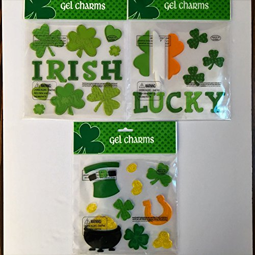 St Patricks Day Holiday Gel Clings Lucky Irish Shamrocks Pot of Gold Window Charms Decoration (Window Gel Decorations)