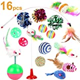 Cat Toys Kitten Toys Assortments - 16PCS Variety Kitty Toy Set Including Interactive Feather Teaser Toy - Mouse Tumbler - Mylar Crinkle Balls Rainbow Balls Bells Toys - for Chewing Playing (Random Color)