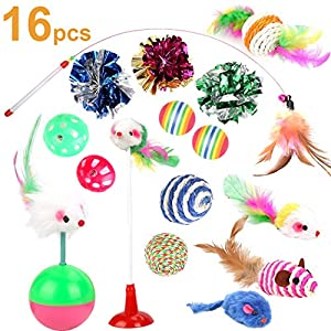 Cat Toys Kitten Toys Assortments, 16PCS Variety Kitty Toy Set Including Interactive Feather Teaser Toy, Mouse Tumbler…