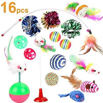 Kitten Toys Cat Toys Kitten Toys Assortments, 16PCS Variety Kitty Toy Set Including Interactive Feather Teaser T [tag]