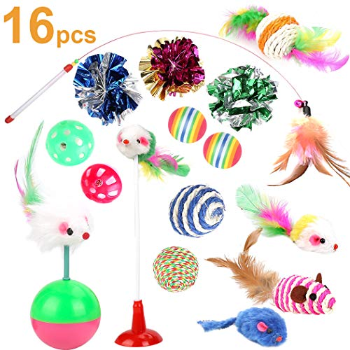 - Cat Toys Kitten Toys Assortments, 16PCS Variety Kitty Toy Set Including Interactive Feather Teaser Toy, Mouse Tumbler, Mylar Crinkle Balls Rainbow Balls Bells Toys, for Chewing Playing (Random Color)