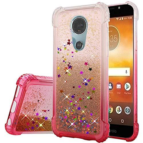 Phonelicious Moto E5 GO Case Cute Glitter Liquid Quicksand Waterfall Floating Sparkle Confetti for Women Girl (Pink)