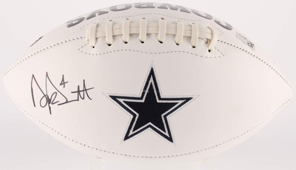 Dak Prescott Dallas Cowboys Signed Autograph Embroidered Logo Football Dak Player Hologram JSA Witnessed Certified