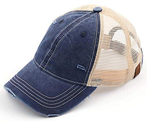 H-6140-912-31 Distressed Trucker Hat - Washed Navy/Beige Mesh