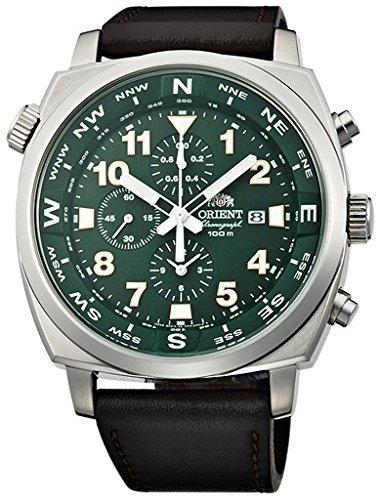 ORIENT Sporty Quartz Chronograph 100M Pilot Watch Green TT17004F (Orient Quartz Chronograph)