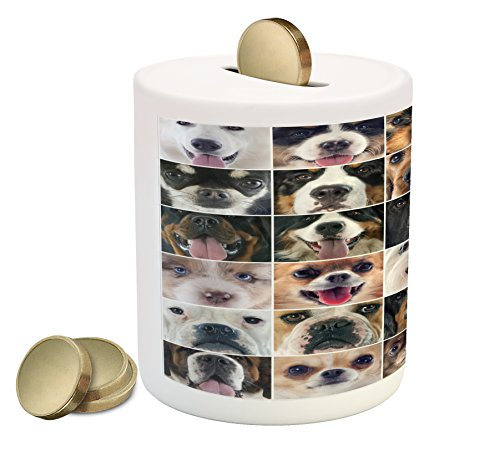 Lunarable Dog Lover Piggy Bank, Dogs in Studio Chihuahua Chow Chow Cocker Spaniel Poodle Purebred Sheepdog Print, Printed Ceramic Coin Bank Money Box for Cash Saving, ()