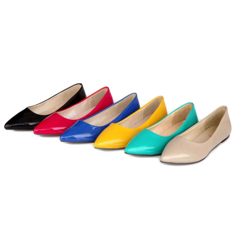 Smilice Women Flats Patent Leather Pointed Toe Slip-on Shoes 6 Colors Available Size 1-13 US B06XCNR887 46 EU = US 12 = 28 CM|Blue