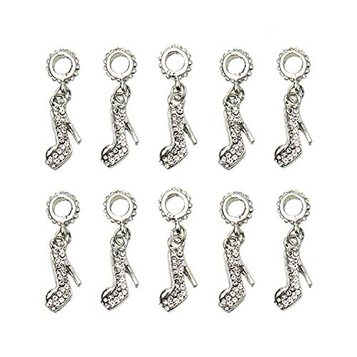 Monrocco 10Pcs Cute Women Crystal High Heel Shoe Charms Pendant Jewelry Findings for Jewelry Making Necklace Bracelet DIY,Silver ()
