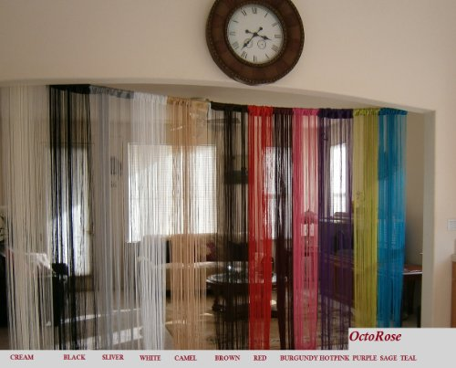 Octorose Sexy String Thread Fringe Curtain Panel 40x110 Inch - String Rayon