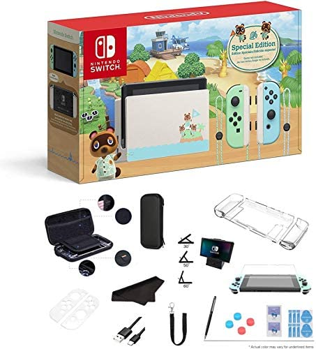 "Newest Nintendo Switch - Animal Crossing: New Horizons Edition 32GB Console - Pastel Green and Blue Joy-Con, 6.2"" Multi-Touch 1280x720 Display, WiFi, Bluetooth, HDMI and GalliumPi 12-in-1 Bundle"